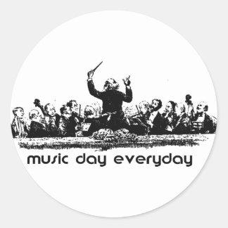 ¡Diseño de la orquesta para el día de la música! Pegatina Redonda