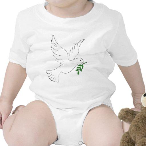 Diseño de la paloma de la paz traje de bebé