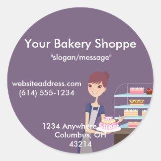 Diseño de la panadería/de la tienda de pasteles 4 pegatina redonda