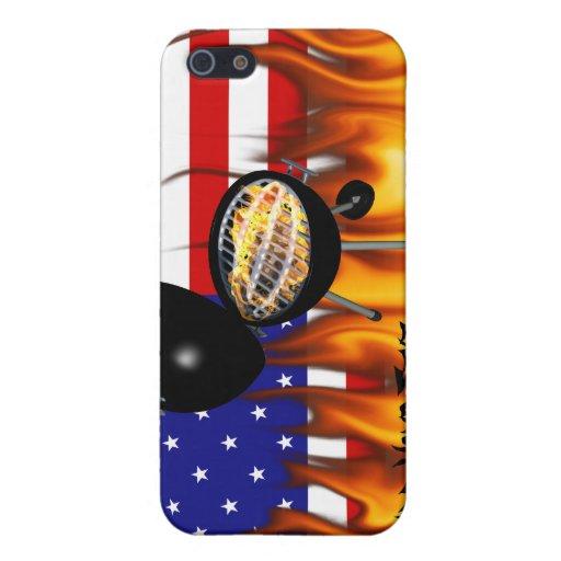 Diseño de la parrilla del Bbq y de la bandera amer iPhone 5 Protector
