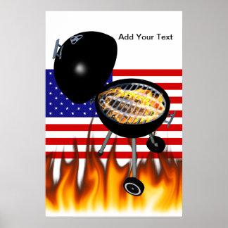 Diseño de la parrilla del Bbq y de la bandera amer Poster