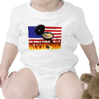 Diseño de la parrilla del Bbq y de la bandera Traje De Bebé