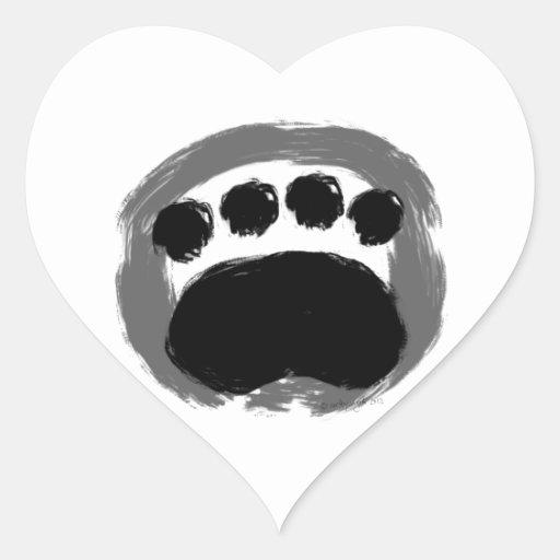 Diseño de la pata de Enso Pegatina En Forma De Corazón