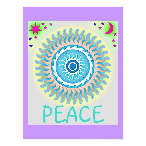 Diseño de la paz de Sun, de la luna y de las Postal