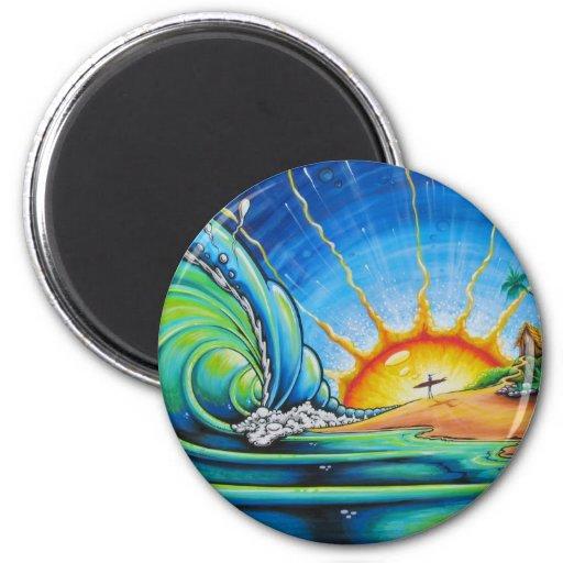 Diseño de la persona que practica surf imán