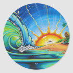 Diseño de la persona que practica surf pegatina