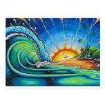 Diseño de la persona que practica surf postales