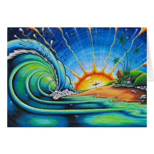 Diseño de la persona que practica surf felicitación