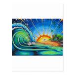 Diseño de la persona que practica surf tarjetas postales