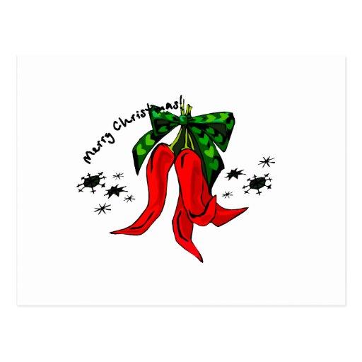 diseño de la pimienta roja de las Felices Navidad  Tarjeta Postal
