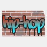 diseño de la pintada del hip-hop pegatina rectangular