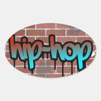 diseño de la pintada del hip-hop pegatina ovalada