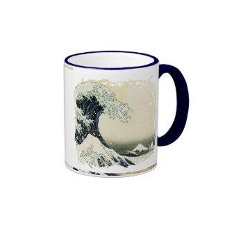 Diseño de la pintura de la onda del japonés taza a dos colores