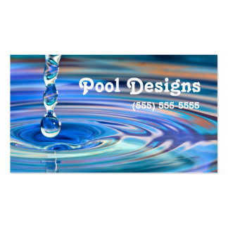 Diseño de la piscina de los descensos claros del tarjetas de visita