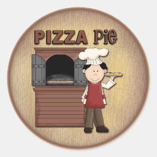 Diseño de la pizza pegatina redonda