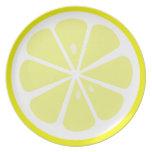 Diseño de la placa de rebanada del limón platos de comidas