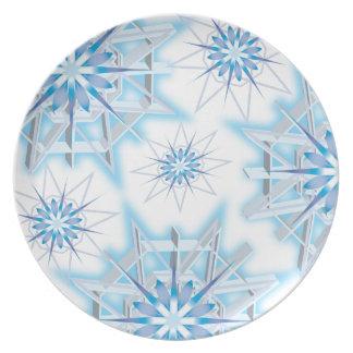 Diseño de la placa del copo de nieve del invierno plato de cena