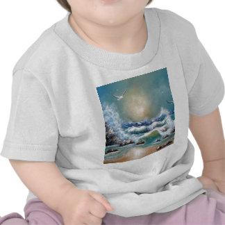 Diseño de la playa de la gaviota camiseta