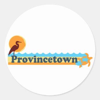 "Diseño de la ""playa"" de Provincetown Pegatina Redonda"
