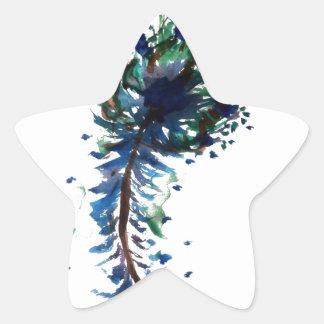 Diseño de la pluma del pavo real del Watercolour Pegatina En Forma De Estrella