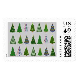Diseño de la porción del árbol de navidad sello postal
