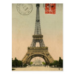 Diseño de la postal de la torre Eiffel del vintage