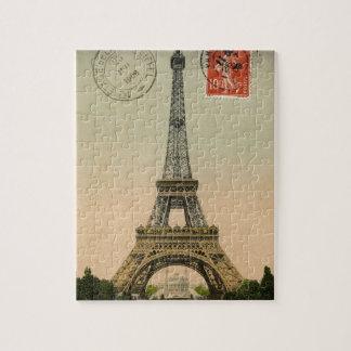 Diseño de la postal de la torre Eiffel del vintage Rompecabezas Con Fotos