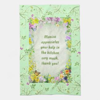 Diseño de la primavera con su nombre toallas de mano