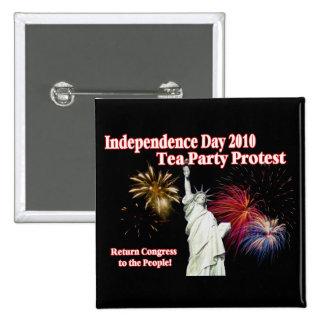 Diseño de la protesta de la fiesta del té del Día  Pin Cuadrado