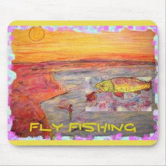 diseño de la puesta del sol de la pesca con mosca alfombrilla de raton