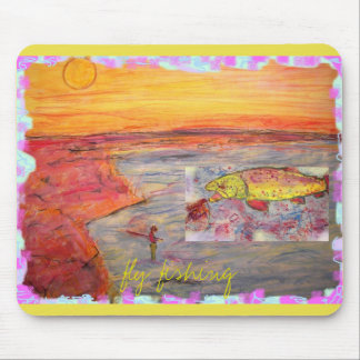 diseño de la puesta del sol de la pesca con mosca tapete de raton