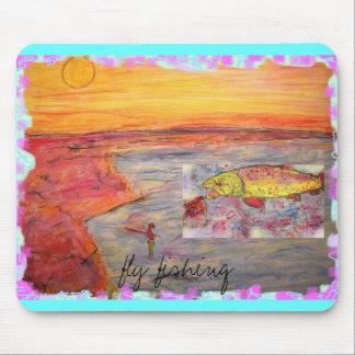 diseño de la puesta del sol de la pesca con mosca alfombrillas de raton