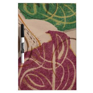 Diseño de la púrpura y del verde tablero blanco