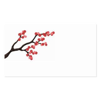 Diseño de la rama de la flor de cerezo en tarjeta  tarjetas de visita