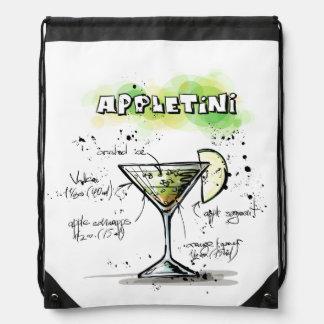 Diseño de la receta de la bebida de AppleTini Mochila