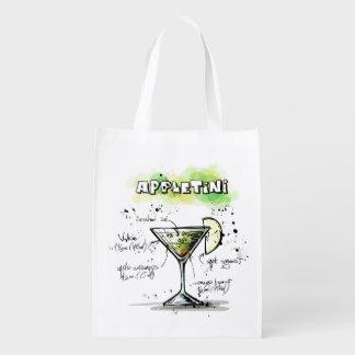 Diseño de la receta de la bebida de AppleTini Bolsas Reutilizables