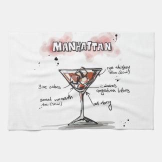 Diseño de la receta de la bebida de Manhattan Toalla De Cocina