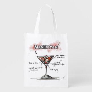 Diseño de la receta de la bebida de Manhattan Bolsa Reutilizable