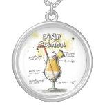Diseño de la receta de la bebida de Pina Colada Colgante Redondo