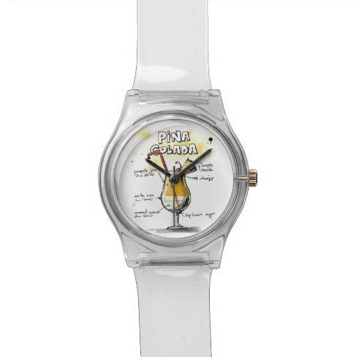 Diseño de la receta de la bebida de Pina Colada Reloj De Mano