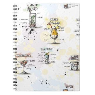 Diseño de la receta de la bebida del cóctel libro de apuntes con espiral