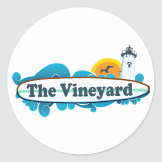 "Diseño de la ""resaca"" del Martha's Vineyard Etiqueta Redonda"