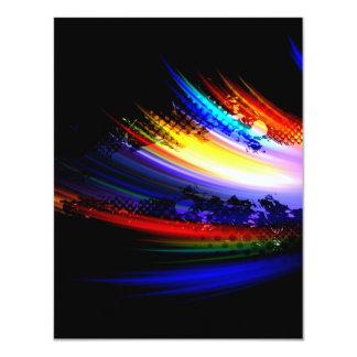 """Diseño de la salpicadura del arte del fractal del invitación 4.25"""" x 5.5"""""""