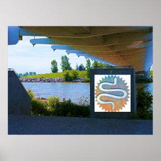 Diseño de la serpiente debajo del puente de Sunnys Poster