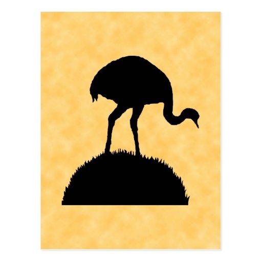 Diseño de la silueta del pájaro de Rhea Postal
