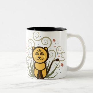 Diseño de la taza de la panda y del león