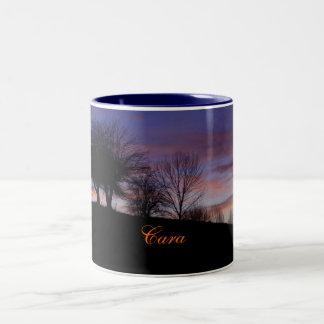 Diseño de la Taza-Puesta del sol del Cara-Nombre
