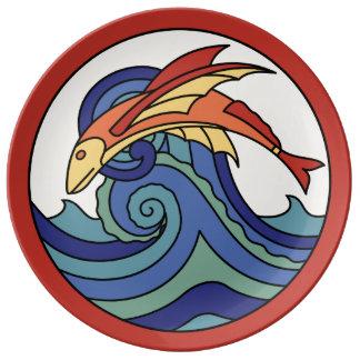 Diseño de la teja del pez volador de la isla de platos de cerámica