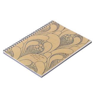 Diseño de la tela de Koloman Moser- con floral Libro De Apuntes Con Espiral