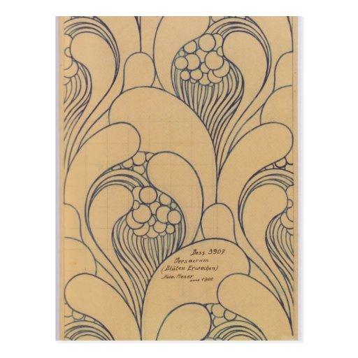 Diseño de la tela de Koloman Moser- con floral Tarjetas Postales